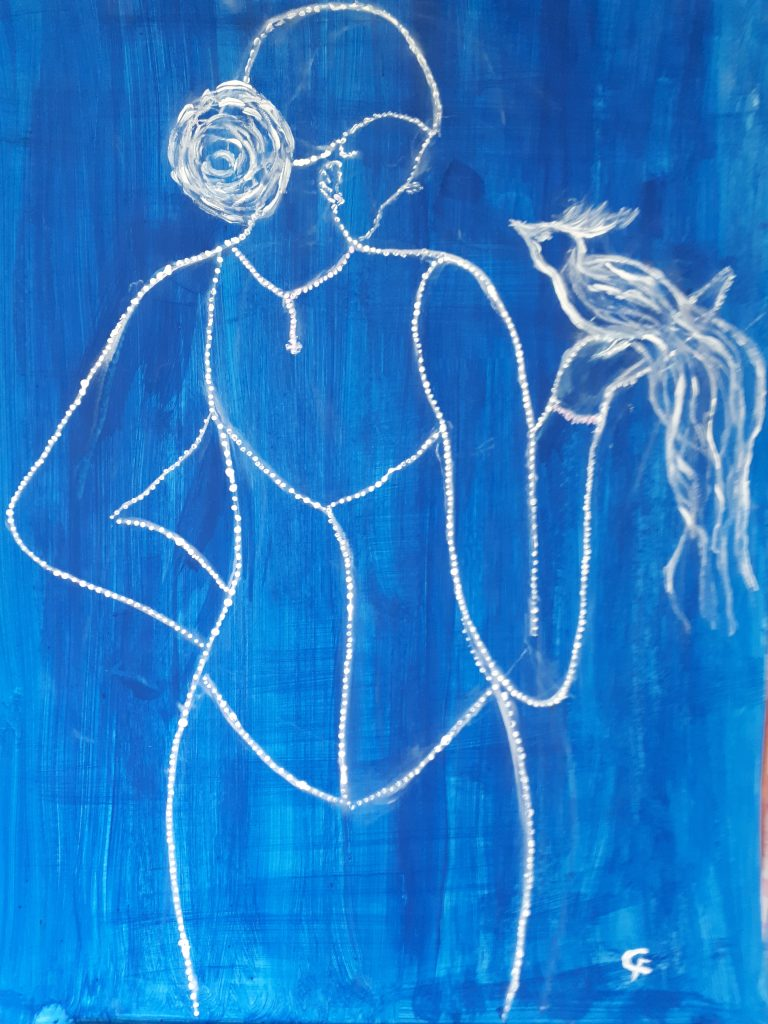 """Gemälde von Christina """"Anmut"""" Mischtechnik 70x90 auf Karton"""