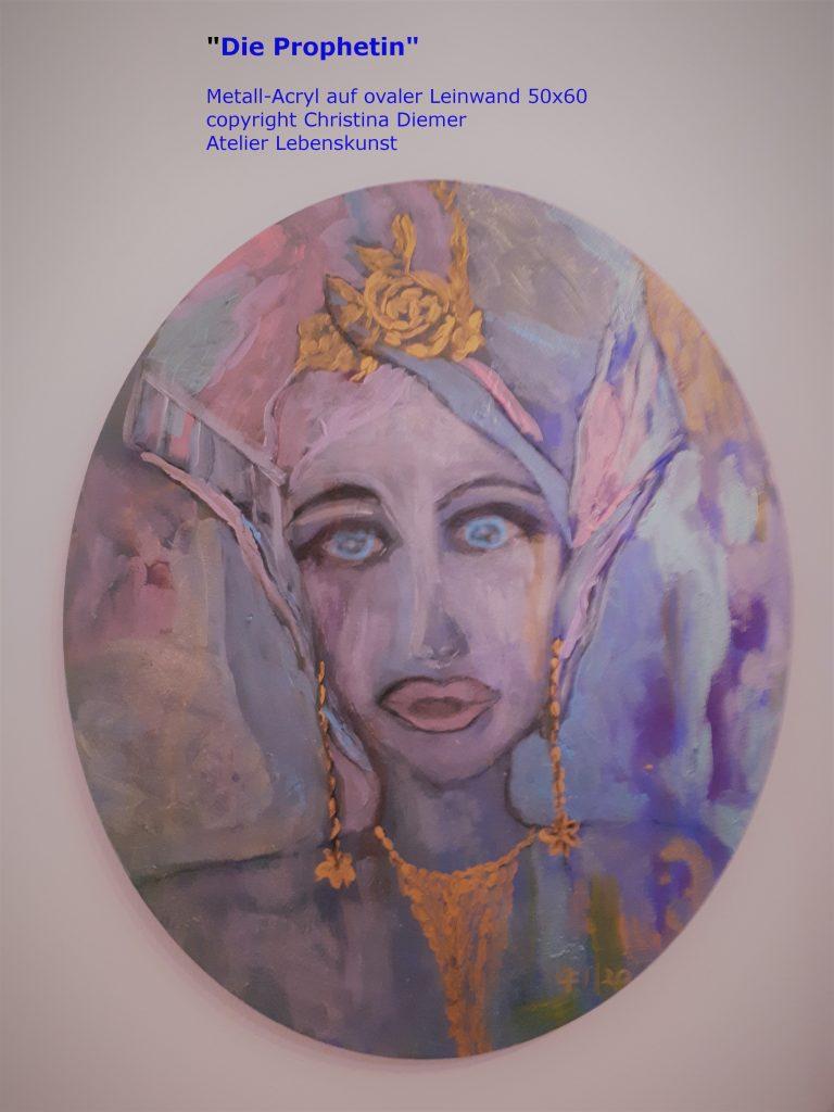 Gemälde von Christina, Pearlfarben oval auf Leinen 60x50